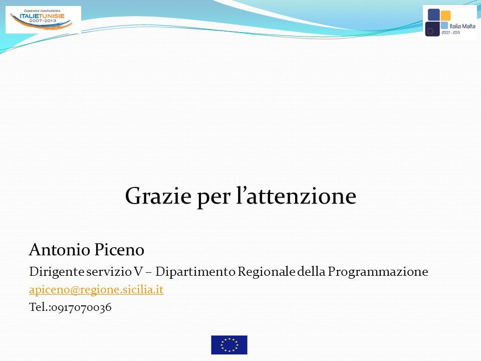 Grazie per lattenzione Antonio Piceno Dirigente servizio V – Dipartimento Regionale della Programmazione apiceno@regione.sicilia.it Tel.:0917070036