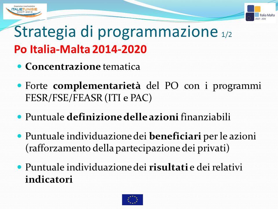 Strategia di programmazione 1/2 Po Italia-Malta 2014-2020 Concentrazione tematica Forte complementarietà del PO con i programmi FESR/FSE/FEASR (ITI e