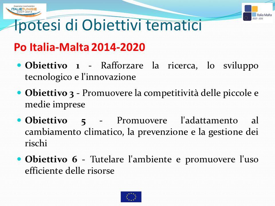 Ipotesi di Obiettivi tematici Po Italia-Malta 2014-2020 Obiettivo 1 - Rafforzare la ricerca, lo sviluppo tecnologico e l'innovazione Obiettivo 3 - Pro