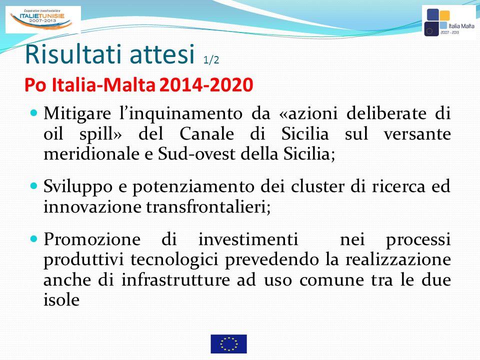 Risultati attesi 2/2 Po Italia-Malta 2014-2020 Creazione di reti transfrontaliere per il coordinamento dei rischi sanitari dell area Integrazione dei mercati del lavoro transfrontalieri per favorire lo scambio di competenze (turismo, beni culturali e ambientali); Favorire la mobilità transfrontaliera, le iniziative locali congiunte a favore dell occupazione e della formazione (nel quadro dell obiettivo tematico di promozione dell occupazione e di sostegno della mobilità della manodopera);