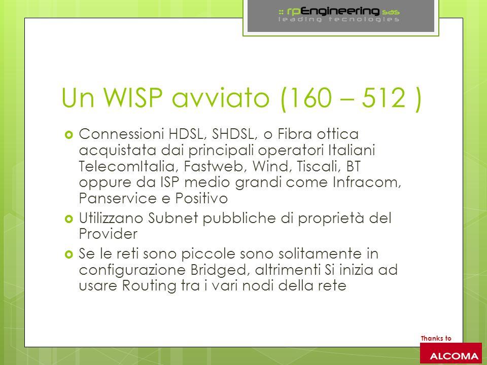 Un WISP avviato (160 – 512 ) Connessioni HDSL, SHDSL, o Fibra ottica acquistata dai principali operatori Italiani TelecomItalia, Fastweb, Wind, Tiscali, BT oppure da ISP medio grandi come Infracom, Panservice e Positivo Utilizzano Subnet pubbliche di proprietà del Provider Se le reti sono piccole sono solitamente in configurazione Bridged, altrimenti Si inizia ad usare Routing tra i vari nodi della rete Thanks to