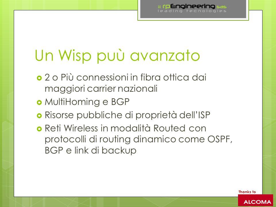 Un Wisp puù avanzato 2 o Più connessioni in fibra ottica dai maggiori carrier nazionali MultiHoming e BGP Risorse pubbliche di proprietà dellISP Reti Wireless in modalità Routed con protocolli di routing dinamico come OSPF, BGP e link di backup Thanks to