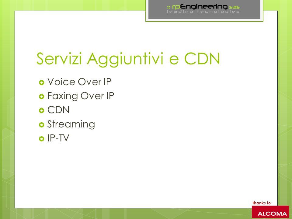 Servizi Aggiuntivi e CDN Voice Over IP Faxing Over IP CDN Streaming IP-TV Thanks to