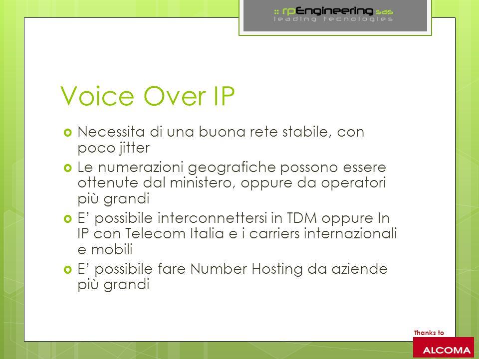 Voice Over IP Necessita di una buona rete stabile, con poco jitter Le numerazioni geografiche possono essere ottenute dal ministero, oppure da operato