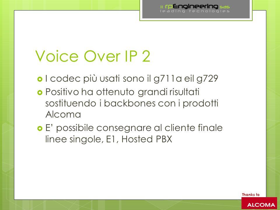 Voice Over IP 2 I codec più usati sono il g711a eil g729 Positivo ha ottenuto grandi risultati sostituendo i backbones con i prodotti Alcoma E possibile consegnare al cliente finale linee singole, E1, Hosted PBX Thanks to