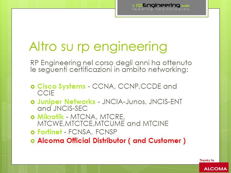 Altro su rp engineering RP Engineering nel corso degli anni ha ottenuto le seguenti certificazioni in ambito networking: Cisco Systems - CCNA, CCNP,CCDE and CCIE Juniper Networks - JNCIA-Junos, JNCIS-ENT and JNCIS-SEC Mikrotik - MTCNA, MTCRE, MTCWE,MTCTCE,MTCUME and MTCINE Fortinet - FCNSA, FCNSP Alcoma Official Distributor ( and Customer ) Thanks to