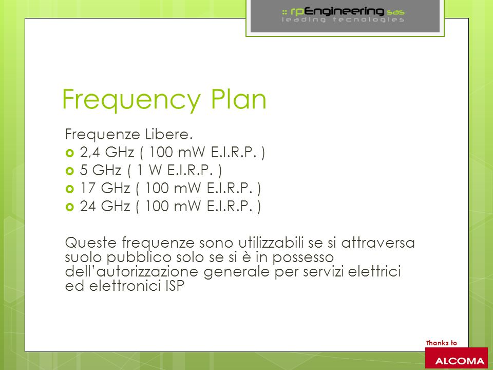 Frequency Plan Frequenze Libere. 2,4 GHz ( 100 mW E.I.R.P. ) 5 GHz ( 1 W E.I.R.P. ) 17 GHz ( 100 mW E.I.R.P. ) 24 GHz ( 100 mW E.I.R.P. ) Queste frequ