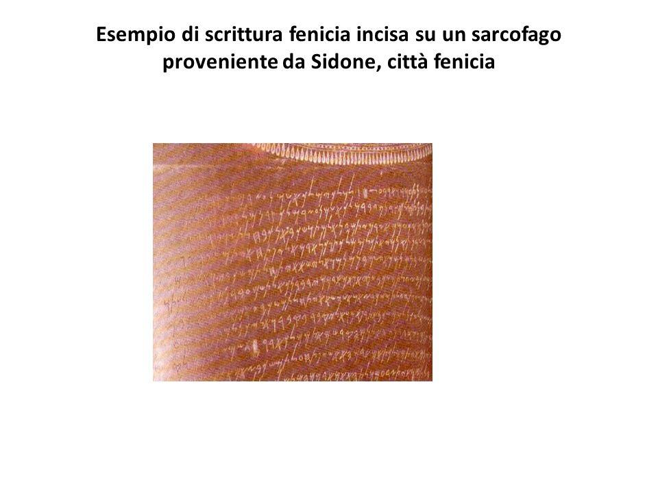 Esempio di scrittura fenicia incisa su un sarcofago proveniente da Sidone, città fenicia