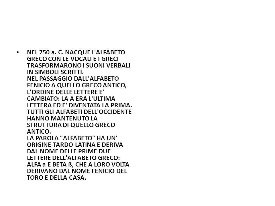 NEL 750 a. C. NACQUE L'ALFABETO GRECO CON LE VOCALI E I GRECI TRASFORMARONO I SUONI VERBALI IN SIMBOLI SCRITTI. NEL PASSAGGIO DALL'ALFABETO FENICIO A