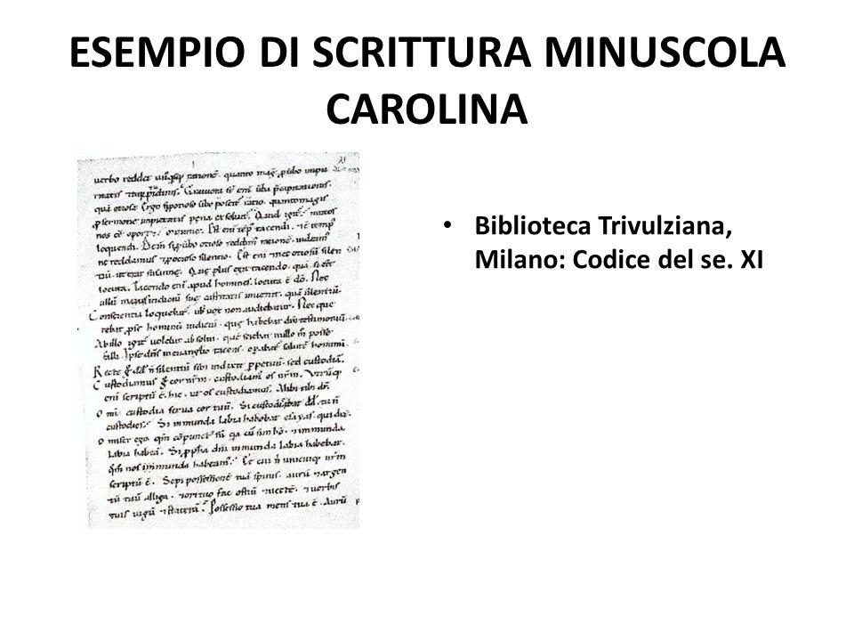 ESEMPIO DI SCRITTURA MINUSCOLA CAROLINA Biblioteca Trivulziana, Milano: Codice del se. XI