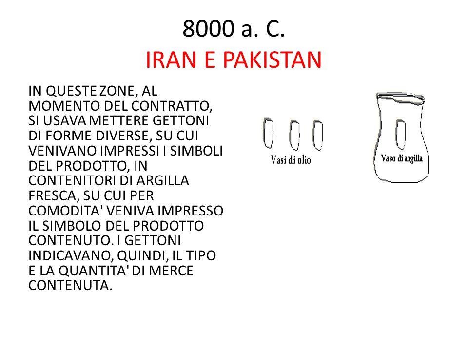 8000 a. C. IRAN E PAKISTAN IN QUESTE ZONE, AL MOMENTO DEL CONTRATTO, SI USAVA METTERE GETTONI DI FORME DIVERSE, SU CUI VENIVANO IMPRESSI I SIMBOLI DEL