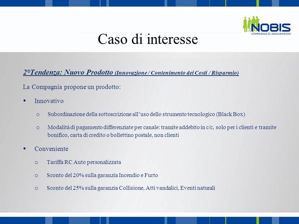2°Tendenza: Nuovo Prodotto (Innovazione / Contenimento dei Costi / Risparmio) La Compagnia propone un prodotto: Innovativo o Subordinazione della sott