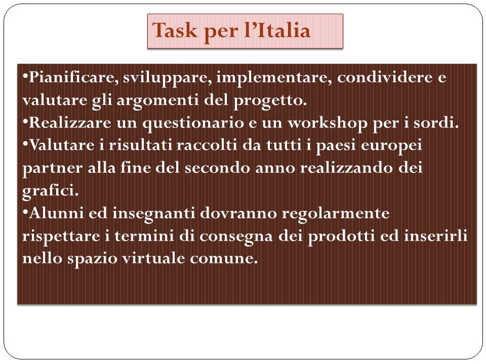 Task per lItalia Pianificare, sviluppare, implementare, condividere e valutare gli argomenti del progetto.