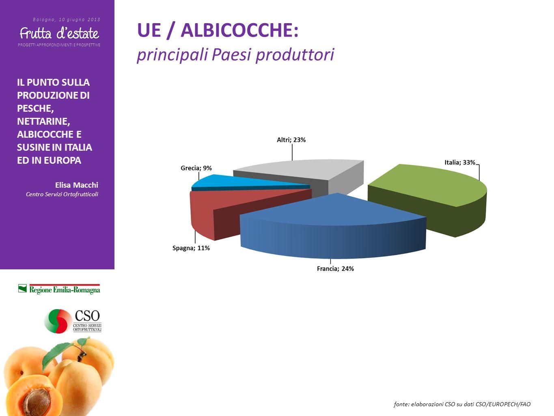 PROGETTI APPROFONDIMENTI E PROSPETTIVE Bologna, 10 giugno 2013 IL PUNTO SULLA PRODUZIONE DI PESCHE, NETTARINE, ALBICOCCHE E SUSINE IN ITALIA ED IN EUROPA Elisa Macchi Centro Servizi Ortofrutticoli UE / SUSINE: trend dei principali Paesi esportatori fonte: elaborazioni CSO su dati EUROSTAT La Spagna ha sviluppato lexport fino a raggiungere le 106.000 tonnellate nel 2012, +112%; lItalia, secondo paese esportatore segue a distanza, con volumi fino alle 60.000 tonnellate.