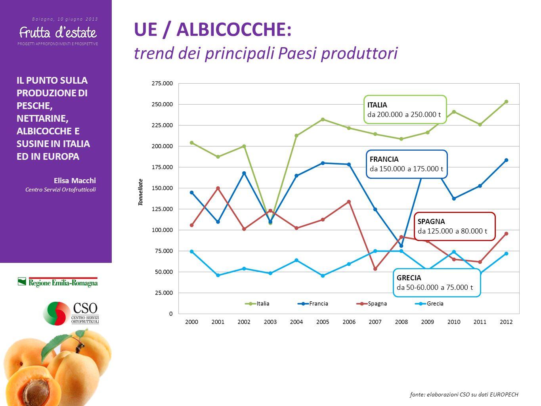 PROGETTI APPROFONDIMENTI E PROSPETTIVE Bologna, 10 giugno 2013 IL PUNTO SULLA PRODUZIONE DI PESCHE, NETTARINE, ALBICOCCHE E SUSINE IN ITALIA ED IN EUROPA Elisa Macchi Centro Servizi Ortofrutticoli ALBICOCCHE: Oggi possiamo presupporre indicativamente una produzione a livello nazionale di circa 160.000 tonnellate, circa il 40% in meno sul 2012 e tra i livelli più bassi degli ultimi anni.