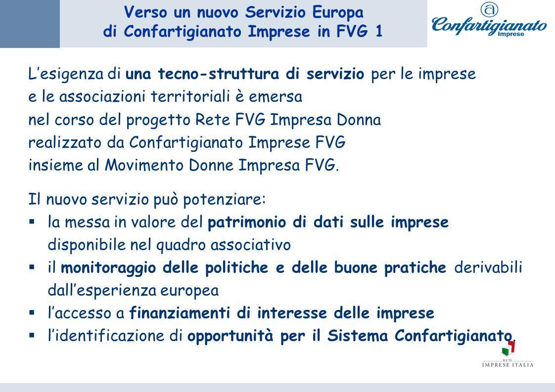 Verso un nuovo Servizio Europa di Confartigianato Imprese in FVG 1 Lesigenza di una tecno-struttura di servizio per le imprese e le associazioni territoriali è emersa nel corso del progetto Rete FVG Impresa Donna realizzato da Confartigianato Imprese FVG insieme al Movimento Donne Impresa FVG.