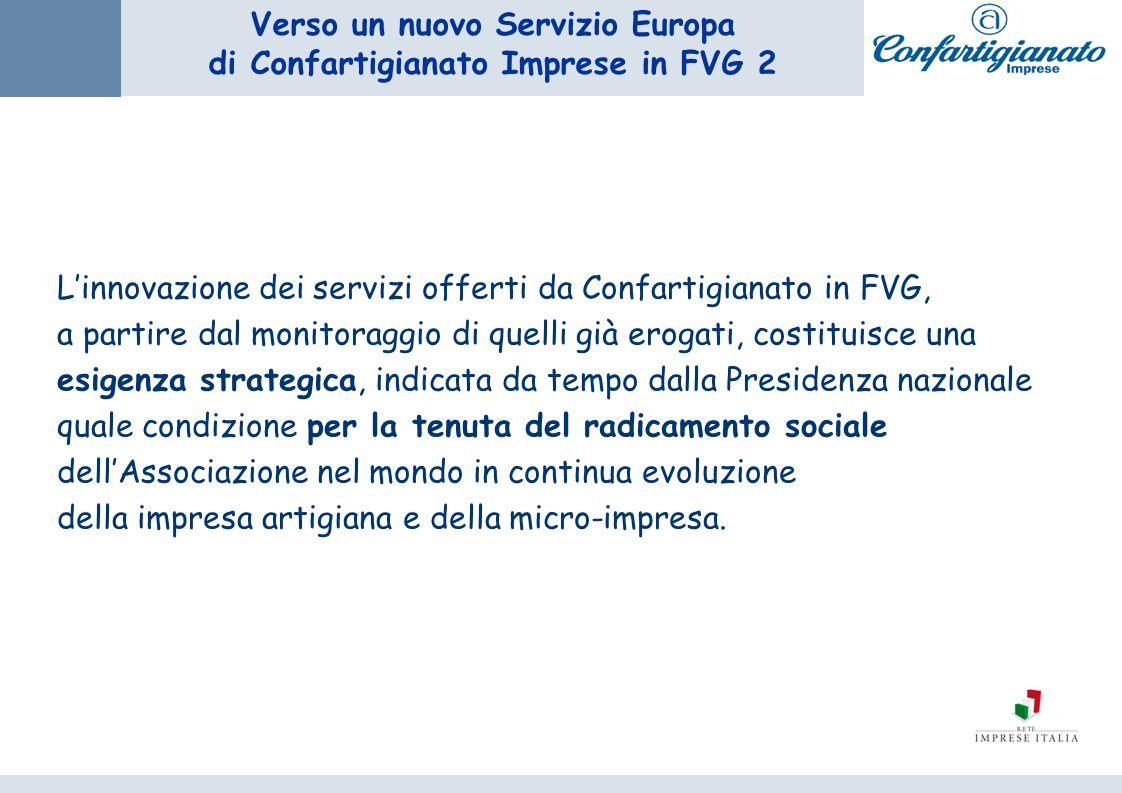 Verso un nuovo Servizio Europa di Confartigianato Imprese in FVG 2 Linnovazione dei servizi offerti da Confartigianato in FVG, a partire dal monitorag