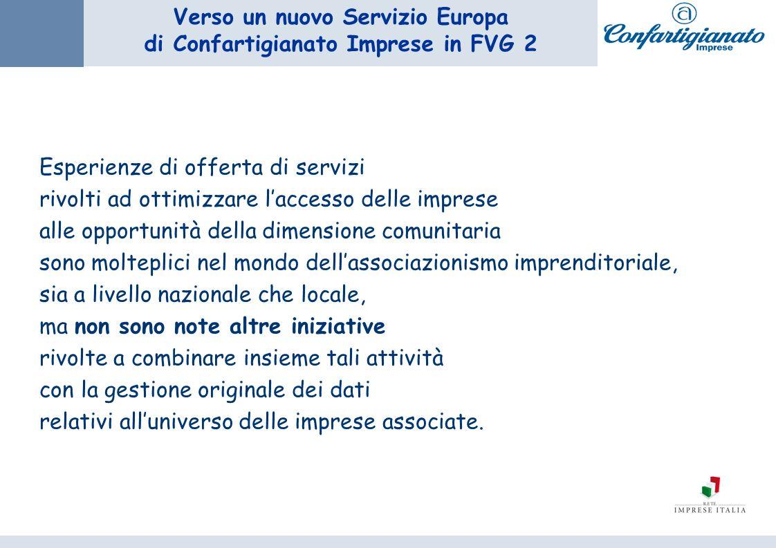 Verso un nuovo Servizio Europa di Confartigianato Imprese in FVG 2 Esperienze di offerta di servizi rivolti ad ottimizzare laccesso delle imprese alle
