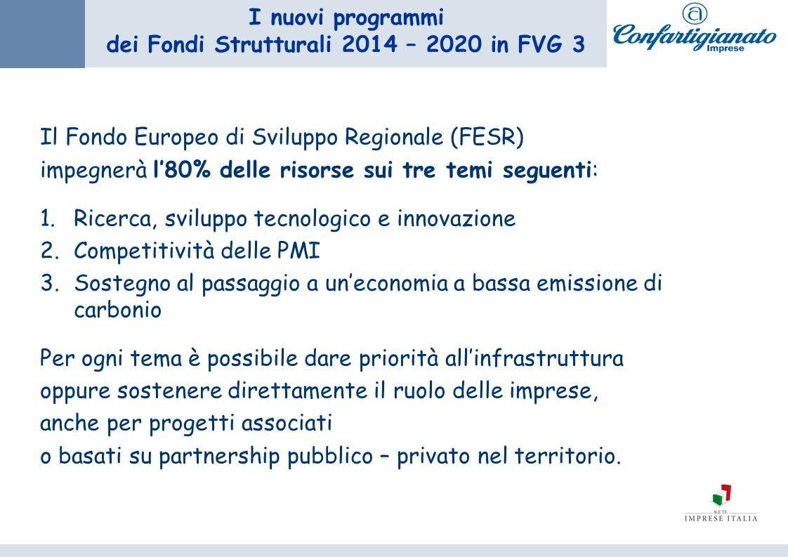 I nuovi programmi dei Fondi Strutturali 2014 – 2020 in FVG 3 Il Fondo Europeo di Sviluppo Regionale (FESR) impegnerà l80% delle risorse sui tre temi seguenti: 1.Ricerca, sviluppo tecnologico e innovazione 2.Competitività delle PMI 3.Sostegno al passaggio a uneconomia a bassa emissione di carbonio Per ogni tema è possibile dare priorità allinfrastruttura oppure sostenere direttamente il ruolo delle imprese, anche per progetti associati o basati su partnership pubblico – privato nel territorio.