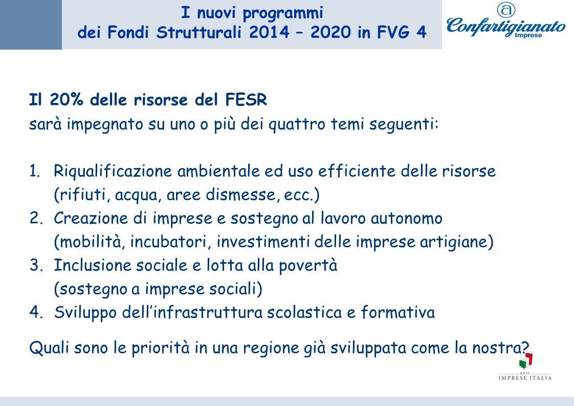I nuovi programmi dei Fondi Strutturali 2014 – 2020 in FVG 4 Il 20% delle risorse del FESR sarà impegnato su uno o più dei quattro temi seguenti: 1.Ri
