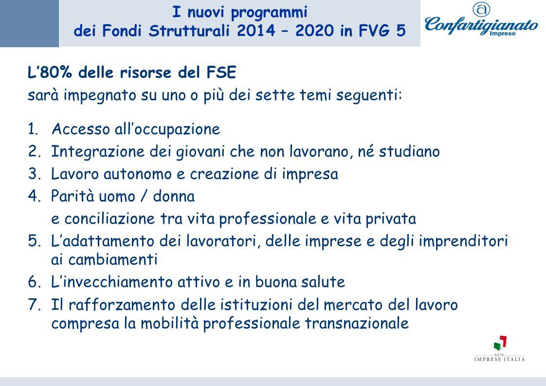 I nuovi programmi dei Fondi Strutturali 2014 – 2020 in FVG 5 L80% delle risorse del FSE sarà impegnato su uno o più dei sette temi seguenti: 1.Accesso