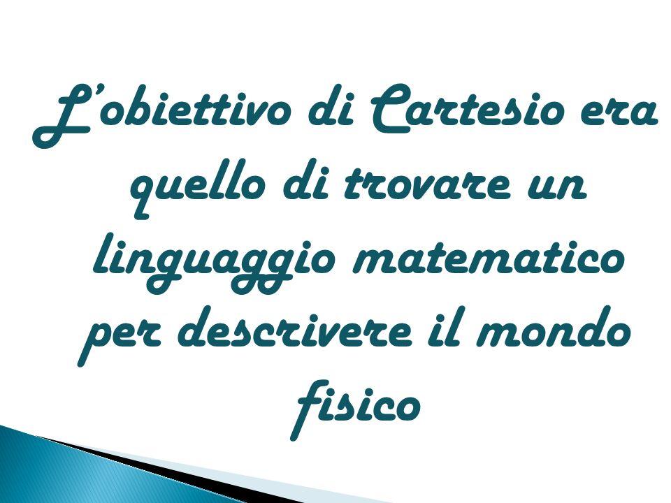 Lobiettivo di Cartesio era quello di trovare un linguaggio matematico per descrivere il mondo fisico