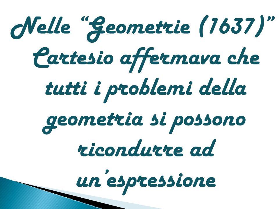 Nelle Geometrie (1637) Cartesio affermava che tutti i problemi della geometria si possono ricondurre ad unespressione