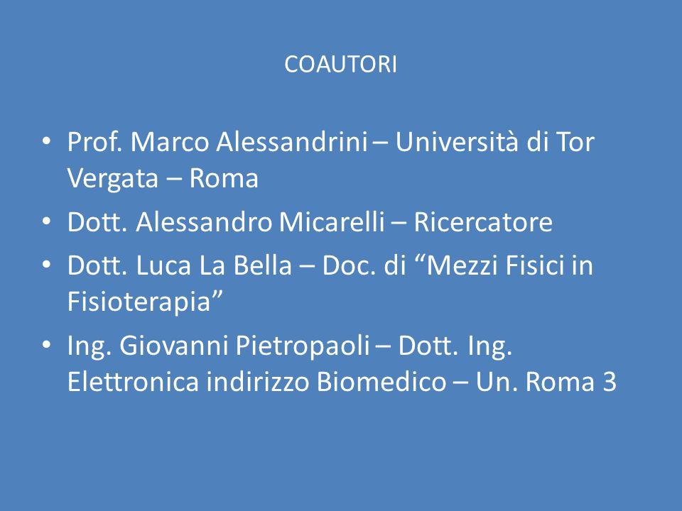 COAUTORI Prof. Marco Alessandrini – Università di Tor Vergata – Roma Dott. Alessandro Micarelli – Ricercatore Dott. Luca La Bella – Doc. di Mezzi Fisi
