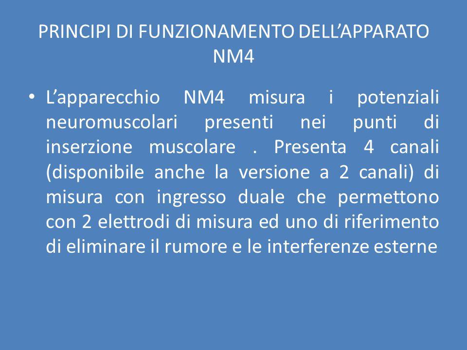 PRINCIPI DI FUNZIONAMENTO DELLAPPARATO NM4 Lapparecchio NM4 misura i potenziali neuromuscolari presenti nei punti di inserzione muscolare. Presenta 4