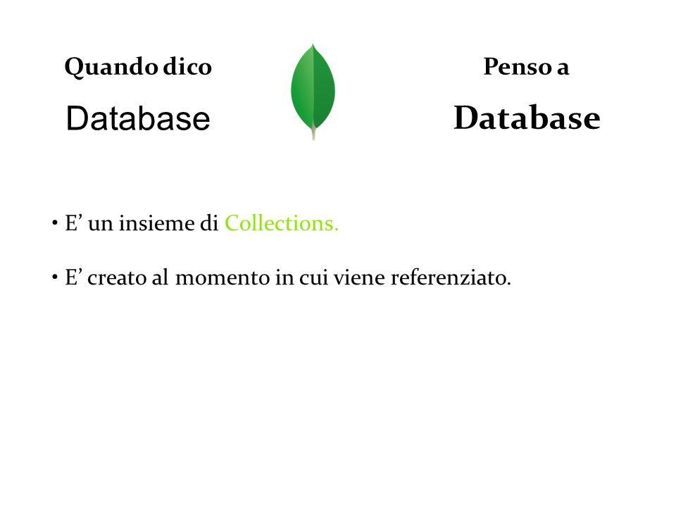 Database Quando dico Database Penso a E un insieme di Collections. E creato al momento in cui viene referenziato.