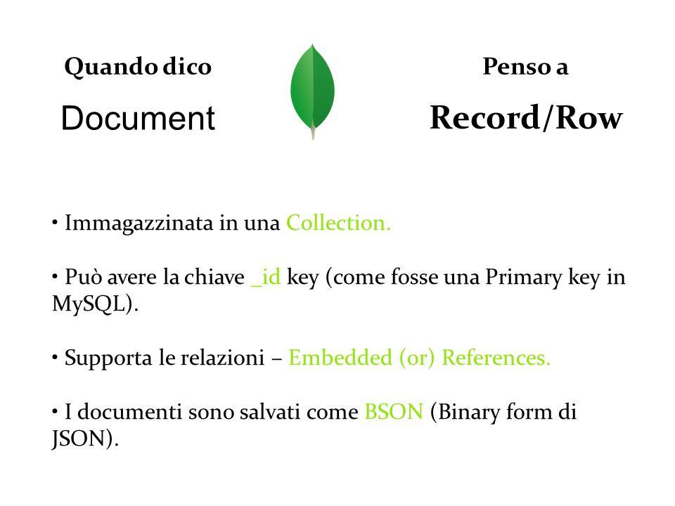 Document Quando dico Record/Row Penso a Immagazzinata in una Collection. Può avere la chiave _id key (come fosse una Primary key in MySQL). Supporta l