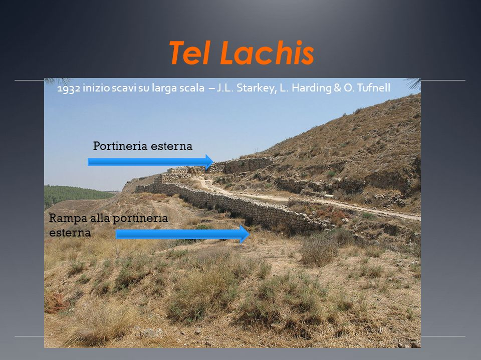 Tel Lachis Rampa alla portineria esterna Portineria esterna 1932 inizio scavi su larga scala – J.L. Starkey, L. Harding & O. Tufnell