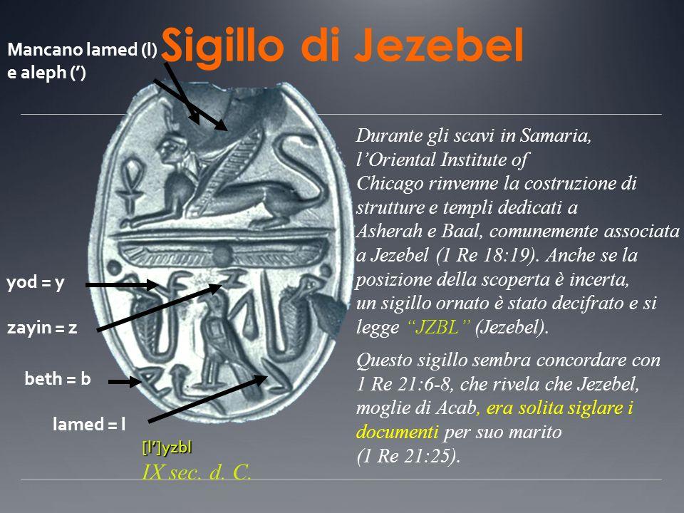 Sigillo di Jezebel Durante gli scavi in Samaria, lOriental Institute of Chicago rinvenne la costruzione di strutture e templi dedicati a Asherah e Baa