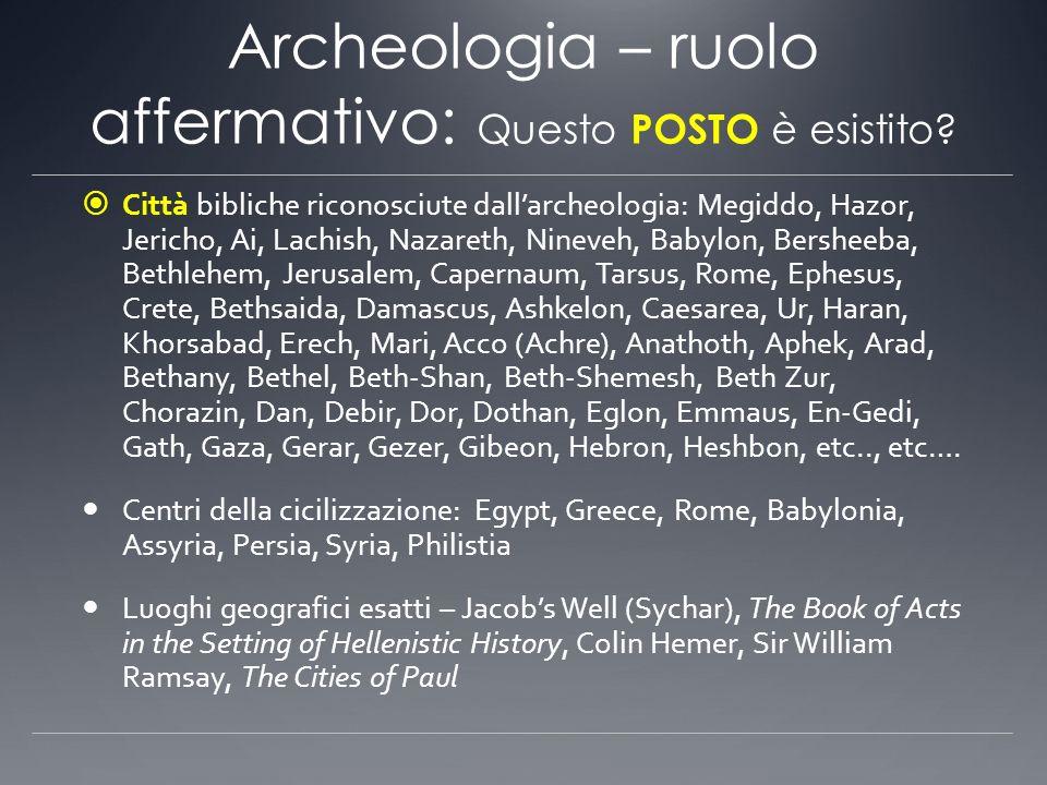 Archeologia – ruolo affermativo: Questo POSTO è esistito? Città bibliche riconosciute dallarcheologia: Megiddo, Hazor, Jericho, Ai, Lachish, Nazareth,