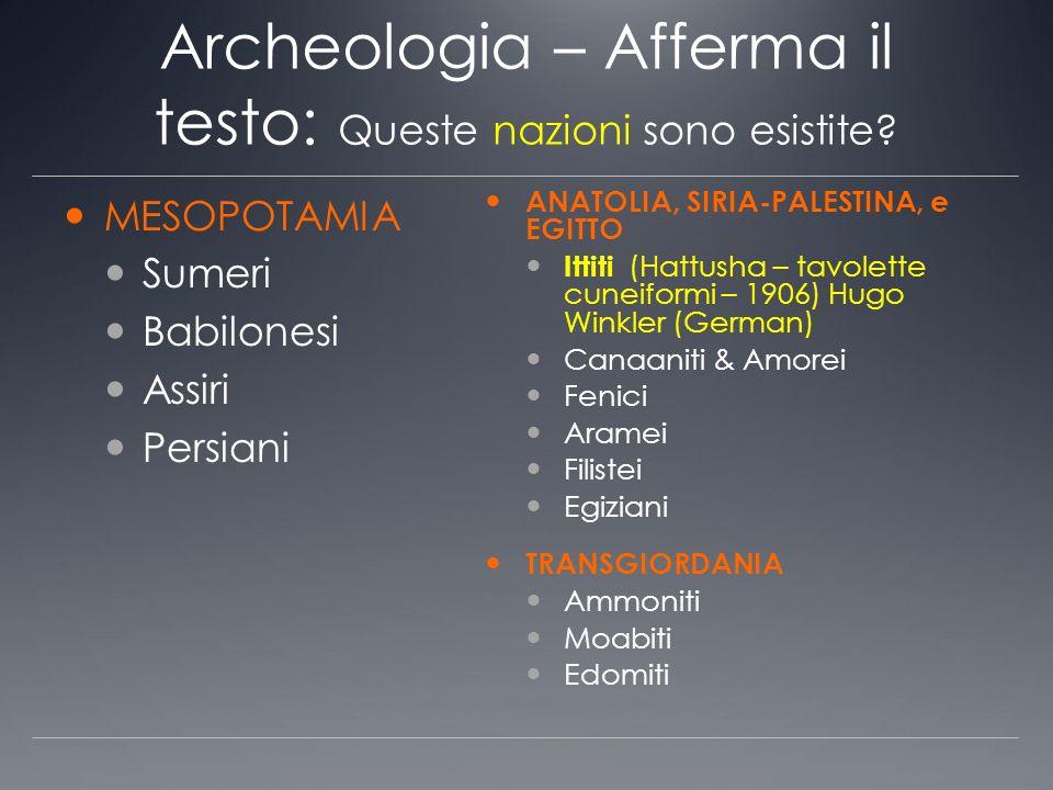 Archeologia – Afferma il testo: Queste nazioni sono esistite? MESOPOTAMIA Sumeri Babilonesi Assiri Persiani ANATOLIA, SIRIA-PALESTINA, e EGITTO Ittiti