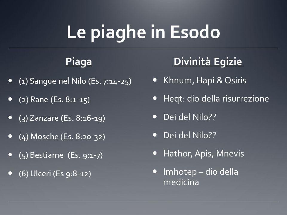 Le piaghe in Esodo Piaga (1) Sangue nel Nilo (Es. 7:14-25) (2) Rane (Es. 8:1-15) (3) Zanzare (Es. 8:16-19) (4) Mosche (Es. 8:20-32) (5) Bestiame (Es.