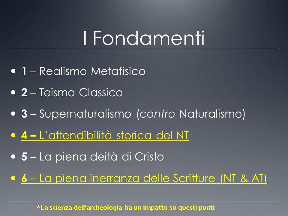 I Fondamenti 1 – Realismo Metafisico 2 – Teismo Classico 3 – Supernaturalismo (contro Naturalismo) 4 – Lattendibilità storica del NT 5 – La piena deit