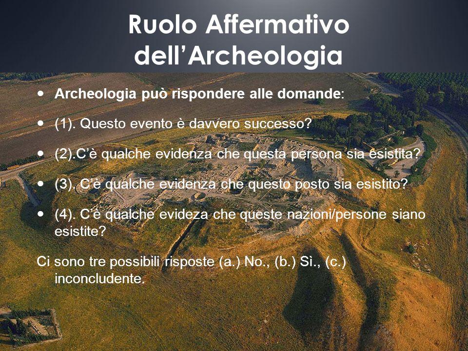 Ruolo Affermativo dellArcheologia Archeologia può rispondere alle domande: (1). Questo evento è davvero successo? (2).Cè qualche evidenza che questa p