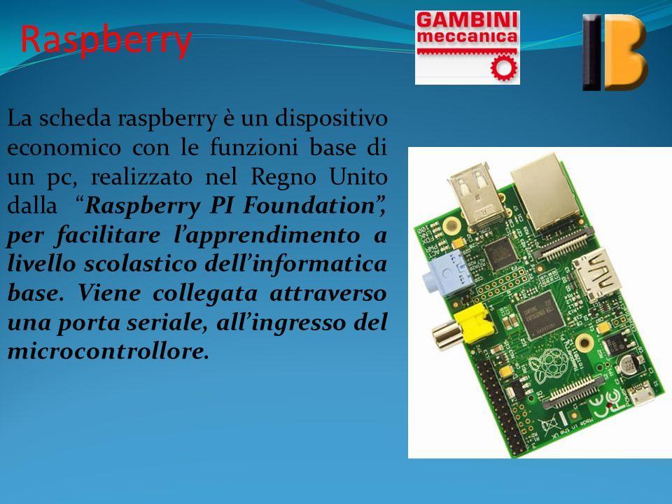 Raspberry La scheda raspberry è un dispositivo economico con le funzioni base di un pc, realizzato nel Regno Unito dalla Raspberry PI Foundation, per