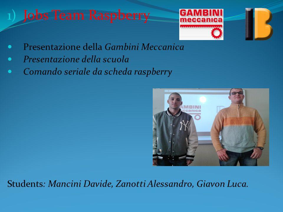 1) Jobs Team Raspberry Presentazione della Gambini Meccanica Presentazione della scuola Comando seriale da scheda raspberry Students: Mancini Davide,