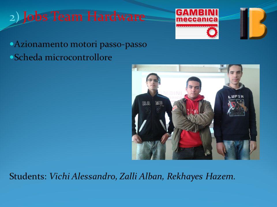 2) Jobs Team Hardware Azionamento motori passo-passo Scheda microcontrollore Students: Vichi Alessandro, Zalli Alban, Rekhayes Hazem.