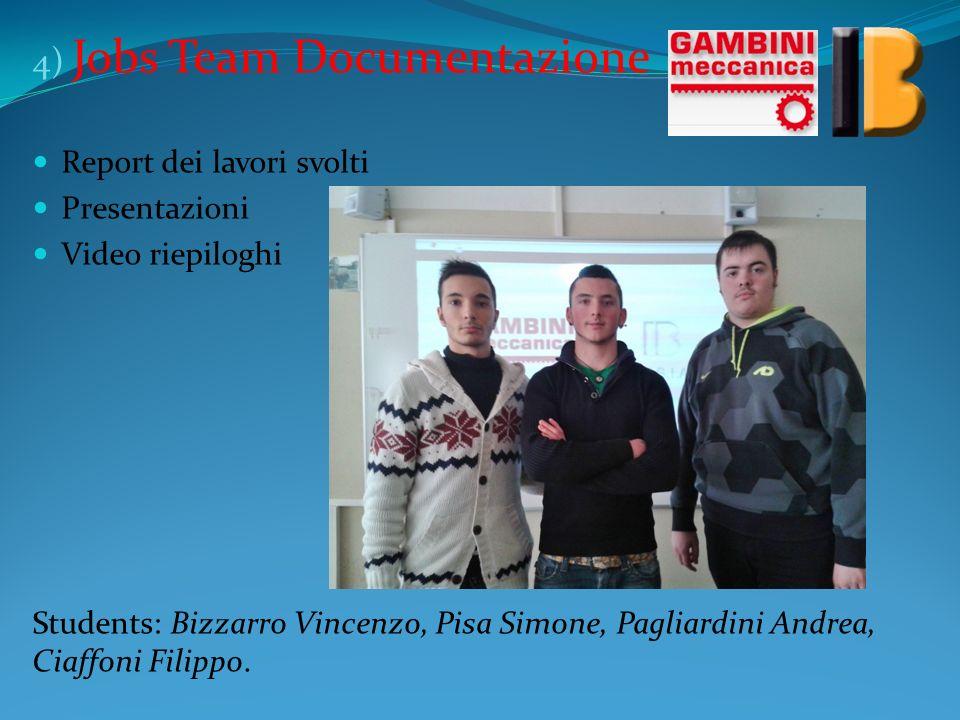 4) Jobs Team Documentazione Report dei lavori svolti Presentazioni Video riepiloghi Students: Bizzarro Vincenzo, Pisa Simone, Pagliardini Andrea, Ciaf