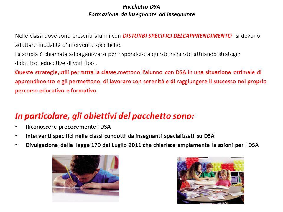 Pacchetto DSA Formazione da insegnante ad insegnante Nelle classi dove sono presenti alunni con DISTURBI SPECIFICI DELLAPPRENDIMENTO si devono adottar