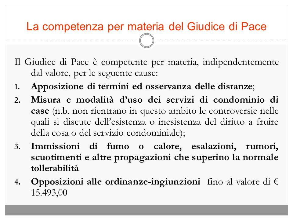La competenza per materia del Giudice di Pace Il Giudice di Pace è competente per materia, indipendentemente dal valore, per le seguente cause: 1. App