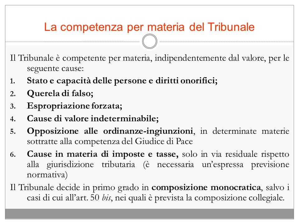 La competenza per materia del Tribunale Il Tribunale è competente per materia, indipendentemente dal valore, per le seguente cause: 1. Stato e capacit