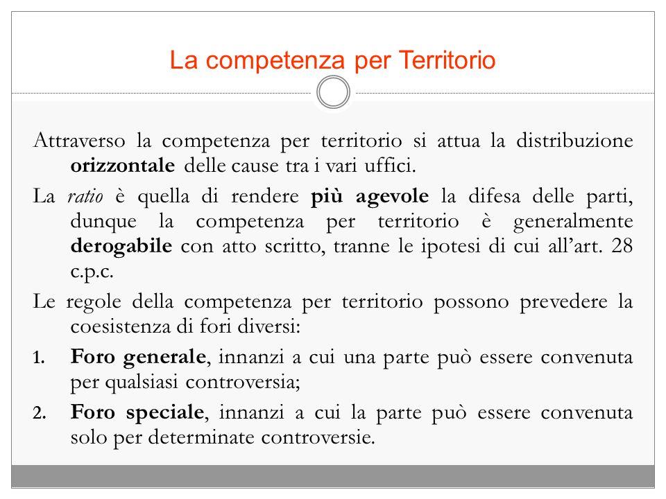 La competenza per Territorio Attraverso la competenza per territorio si attua la distribuzione orizzontale delle cause tra i vari uffici. La ratio è q