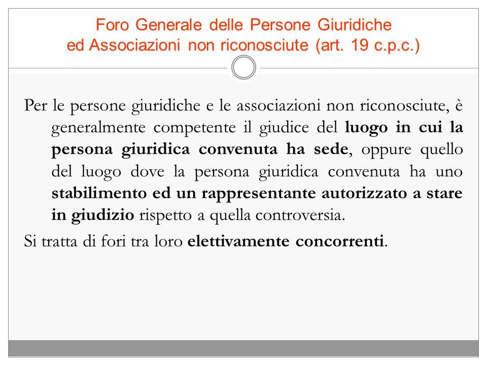 Foro Generale delle Persone Giuridiche ed Associazioni non riconosciute (art. 19 c.p.c.) Per le persone giuridiche e le associazioni non riconosciute,