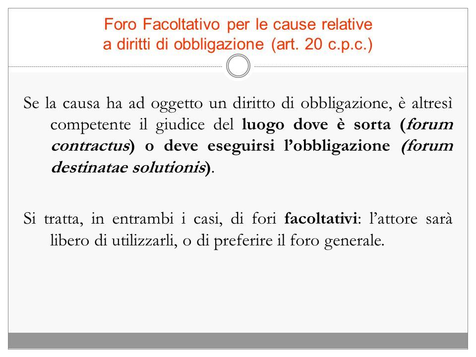 Foro Facoltativo per le cause relative a diritti di obbligazione (art. 20 c.p.c.) Se la causa ha ad oggetto un diritto di obbligazione, è altresì comp