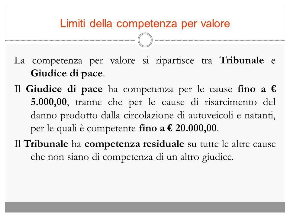 Limiti della competenza per valore La competenza per valore si ripartisce tra Tribunale e Giudice di pace. Il Giudice di pace ha competenza per le cau