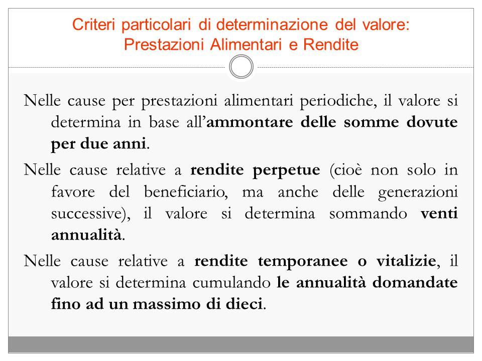 Criteri particolari di determinazione del valore: Cause relative a somme di denaro e beni mobili Ex art.